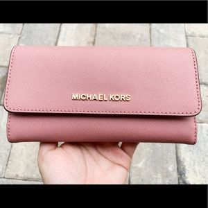 Michael kors large trifold wallet rose pink